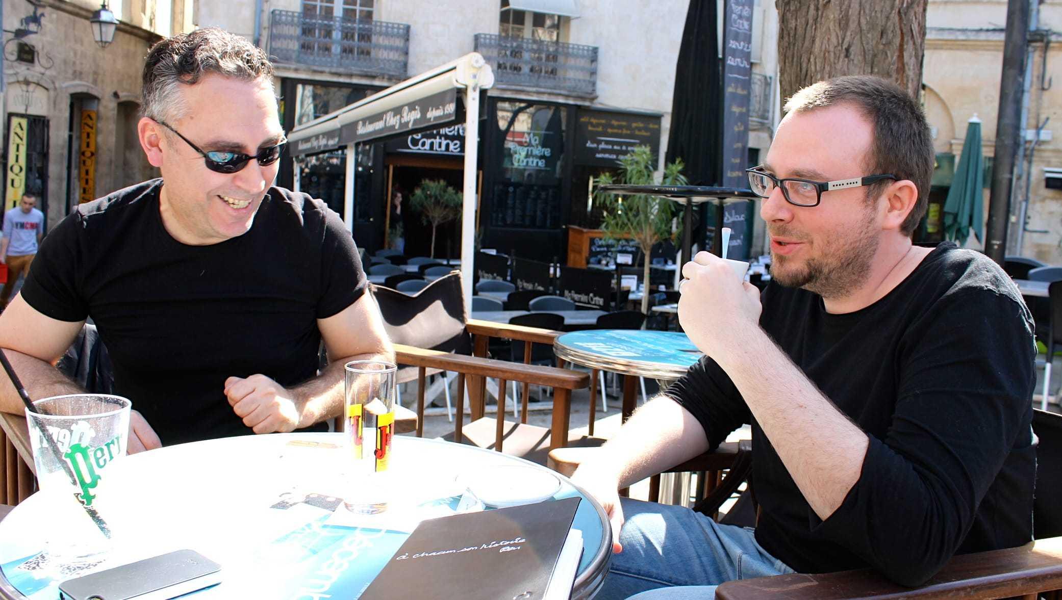Jim et Grelin avec Nhieu chez Planètes Interdites à Montpellier le 11 mai