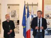 Philippe Saurel, à l'époque adjoint au maire et  amateur de BD  qui inaugurait l'exposition  les Univers de Wul pendant la Comédie du Livre en 2013 avec Vatine. JLT ®