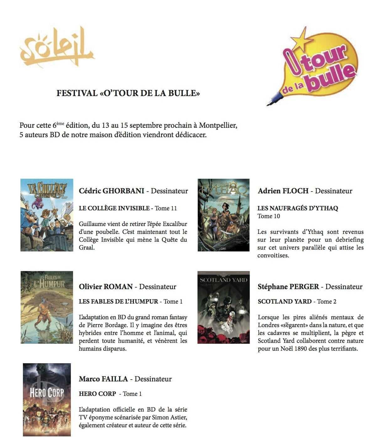 O'Tour de la Bulle 2013 à Montpellier : les auteurs de chez Soleil au festival