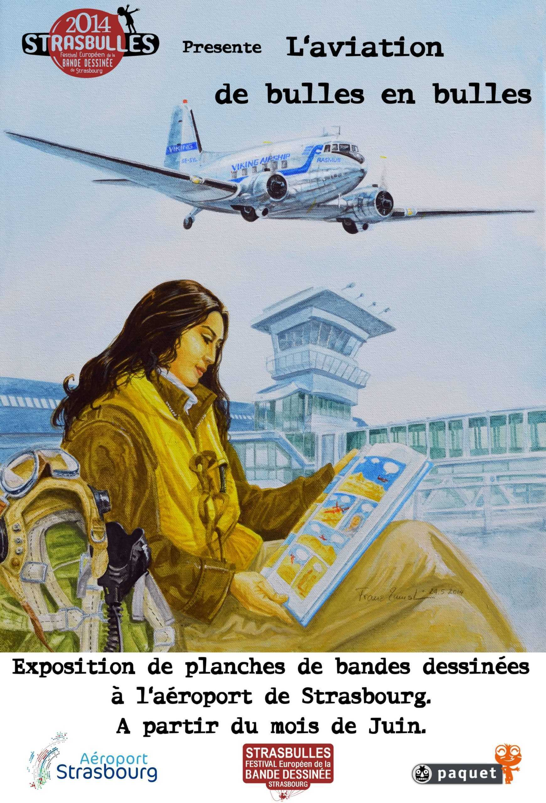 Paquet et Cockpit se posent à l'aéroport de Starsbourg avec une dédicace de Hugault, Koeniguer et Perinotto
