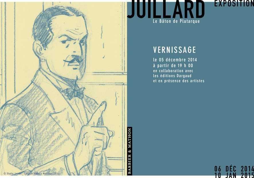 André Juillard expose chez Barbier et Mathon les planches du dernier Blake et Mortimer, le Bâton de Plutarque
