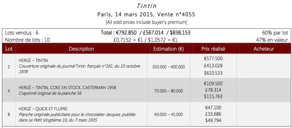 Vente Tintin