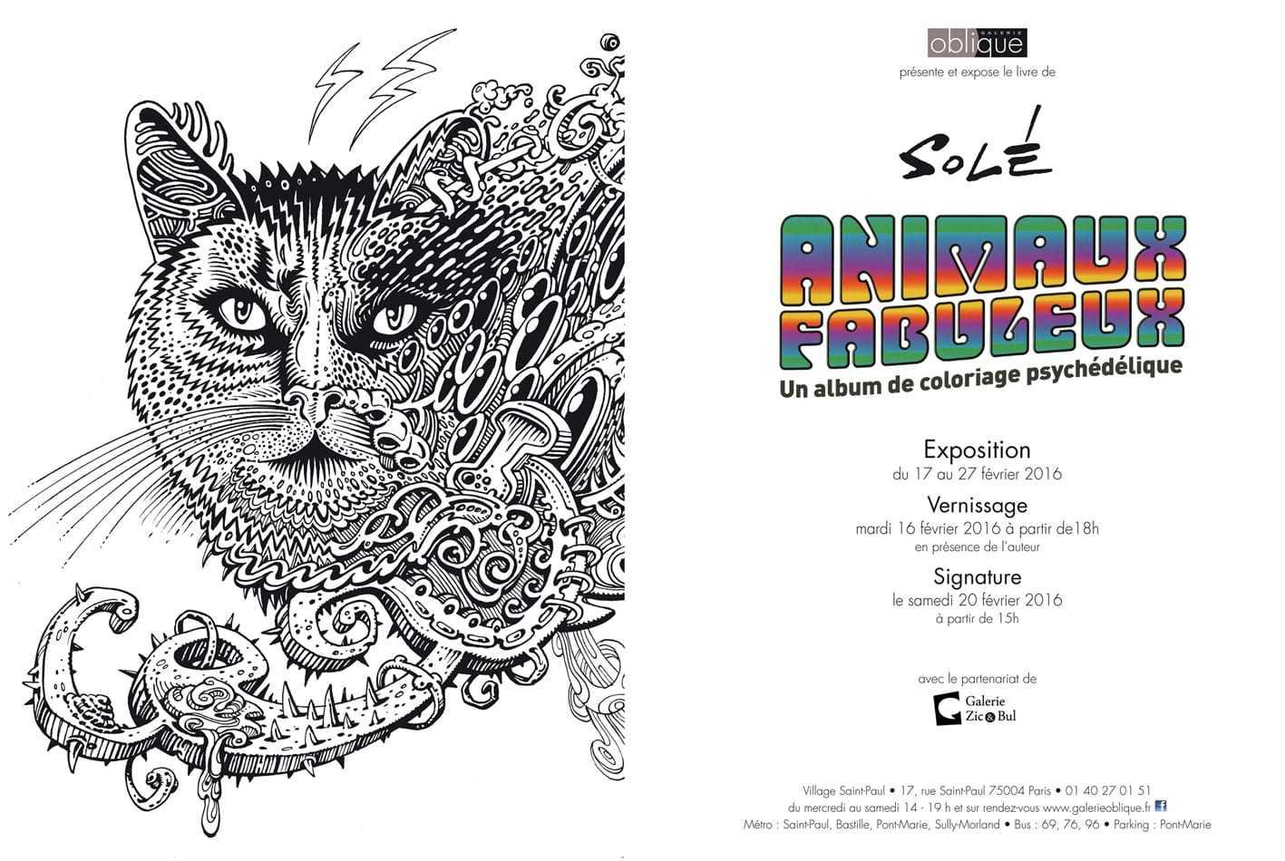 Solé expose ses animaux fabuleux à la Galerie Oblique à Paris