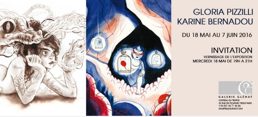 Gloria Pizzilli et Karine Bernadou exposent Galerie Glénat à Paris à partir du 18 mai