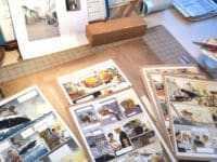 L'atelier de Patrick Jusseaume avec des planches terminées du prochain Tramp ®