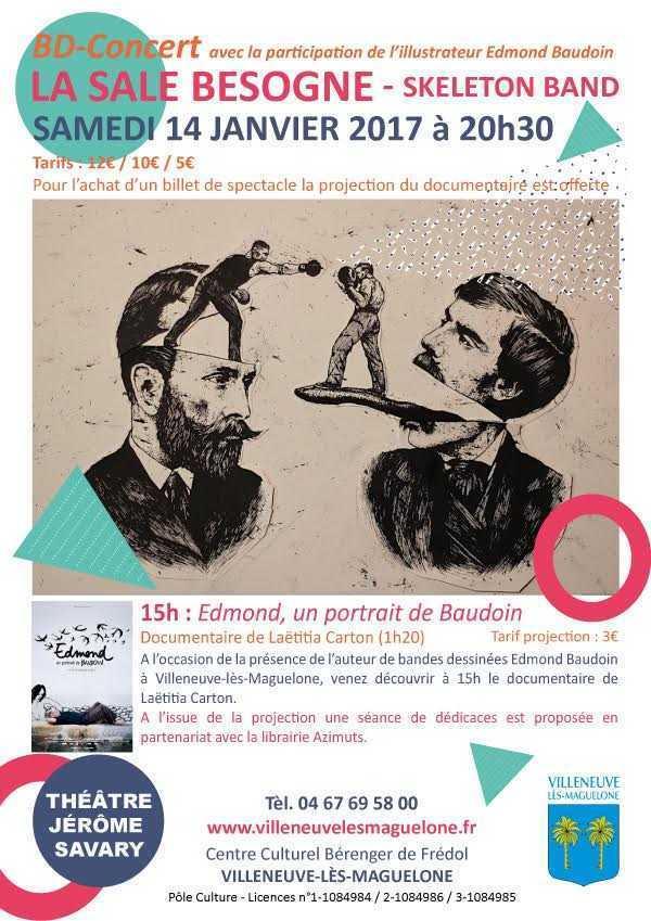 Edmond Baudoin le 14 janvier en dédicace à Villeneuve-lès-Maguelone et La Sale Besogne-BD-Concert du Skeleton Band