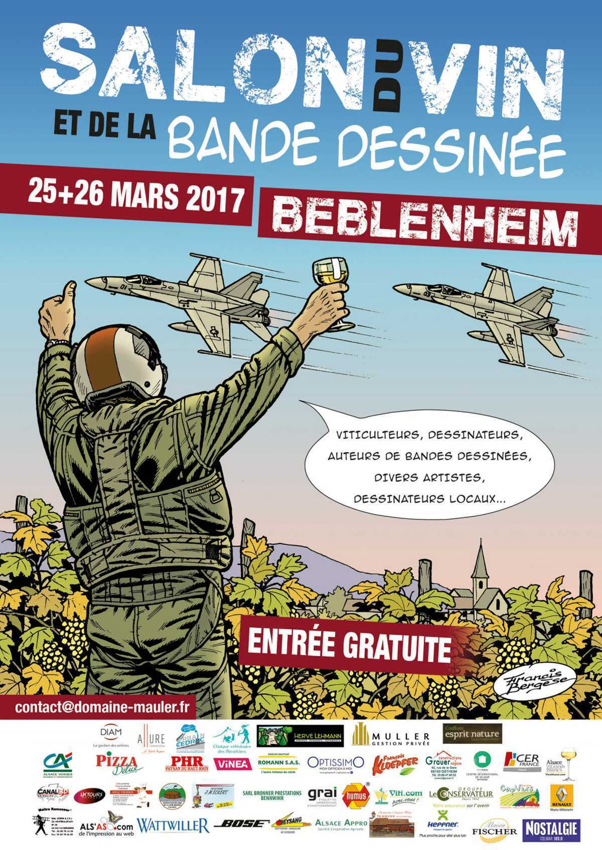 De Bulles en raisin 2017 à Beblenheim les 25 et 26 mars avec Bergèse et Buck Danny
