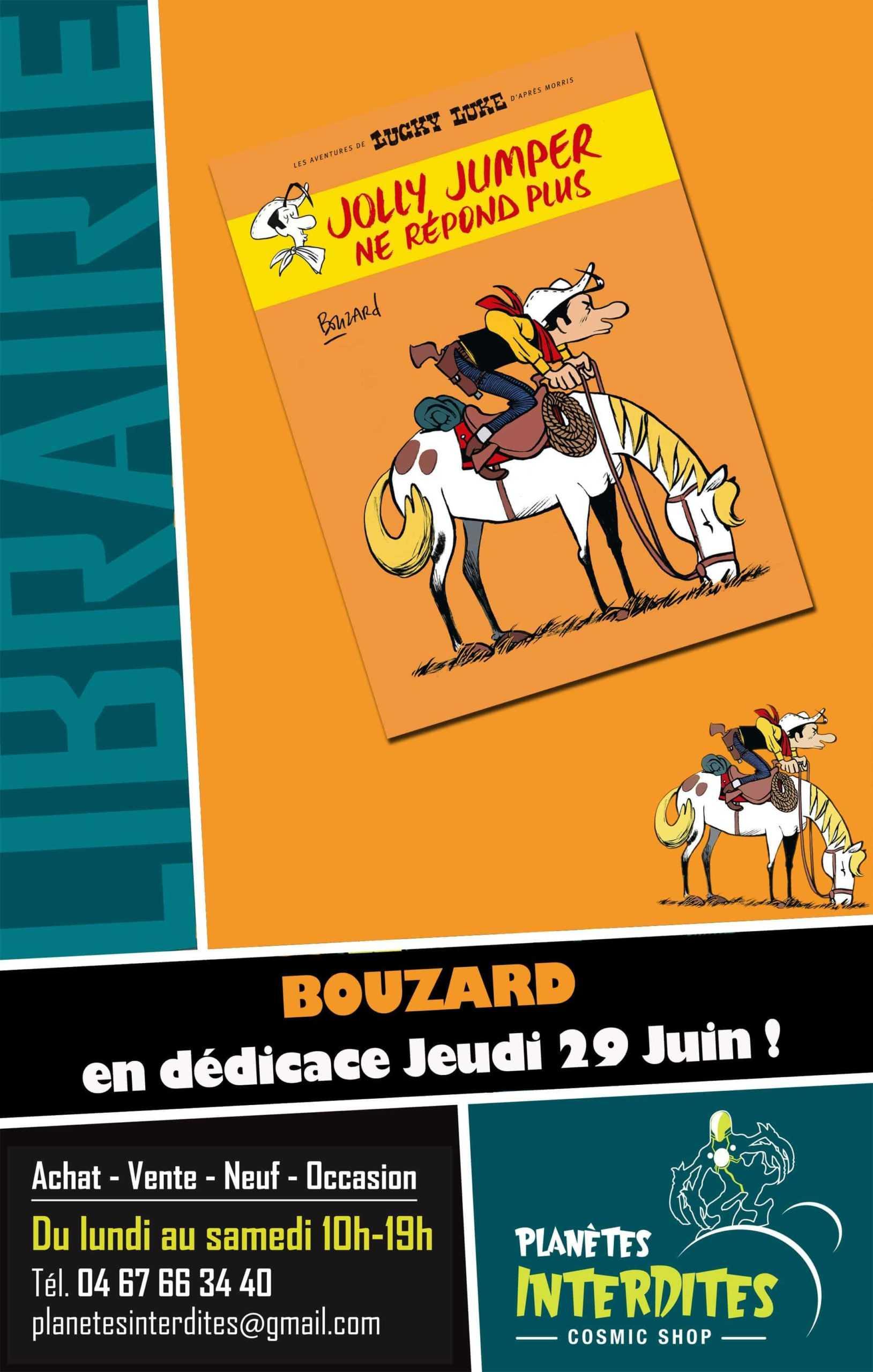 Bouzard et Lucky Luke le 29 juin en dédicace chez Planètes Interdites à Montpellier