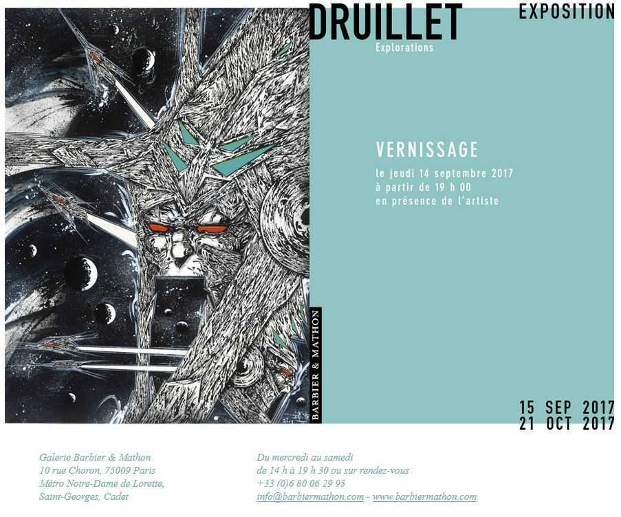 Druillet expose « Explorations »  à Paris chez Barbier et Mathon