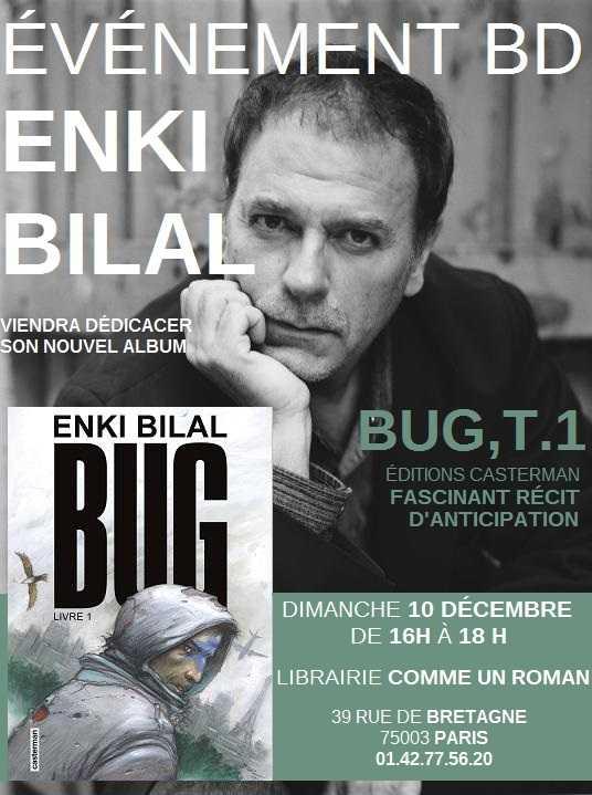 Enki Bilal en dédicace chez Comme un roman à Paris le 10 décembre