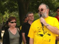 Annie Goetzinger président du festival à gauche de la photo avec Patrick Jusseaume à ses côtés. A droite au premier plan Roland Grimaud, président de l'association. ® Jetez l'encre, ligneclaire.info