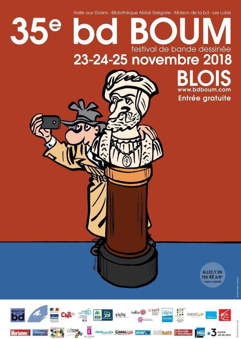 bd Boum à Blois 2018, l'affiche signée par Pétillon