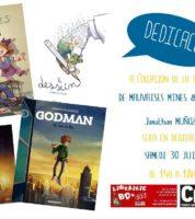 Jonathan Munoz en dédicace à Narbonne pour Godman et Mauvaises mines chez BD et Cie le 30 juin