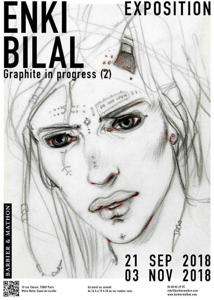 Retour d'Enki Bilal chez Barbier et Mathon à Paris le 21 septembre avec l'expo Graphite in progress 2