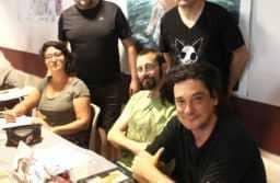 Les auteurs des éditions Jarjille avec Deloupy. JLT ®
