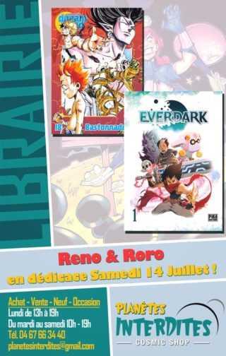 Reno et Roro en dédicace chez Planètes Interdites à Montpellier le 14 juillet