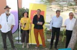 Roland et Emmanuelle Grimaud, Claude Pelet créateur de l'affiche, Nicolas Démoulin député et Jacques Martinier maire de Fabrègues. JLT ®