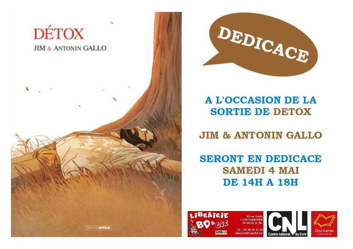 Jim et A. Gallo en dédicace à Narbonne le samedi 4 mai chez BD & Cie pour Détox