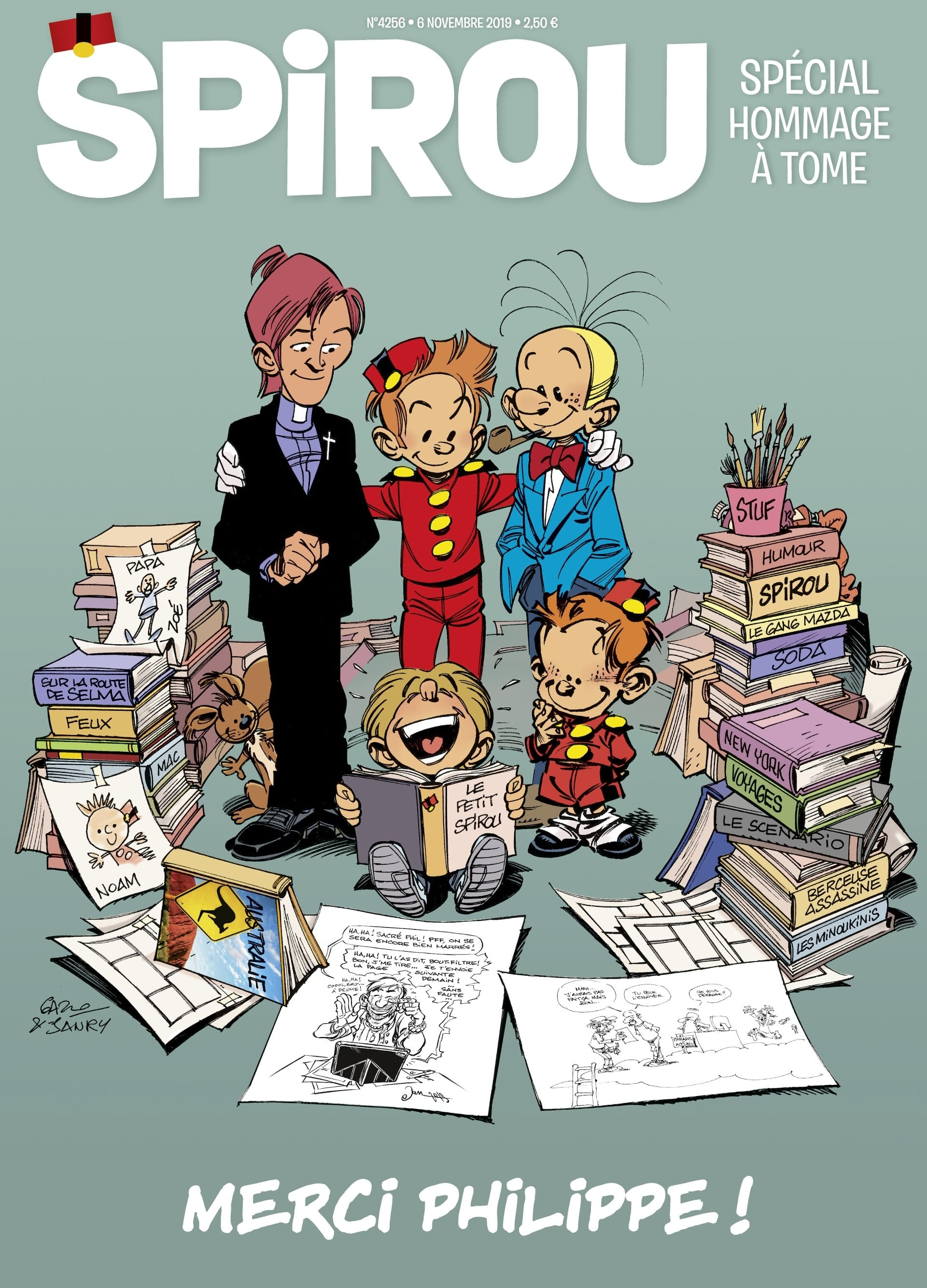 Spirou rend hommage à Tome