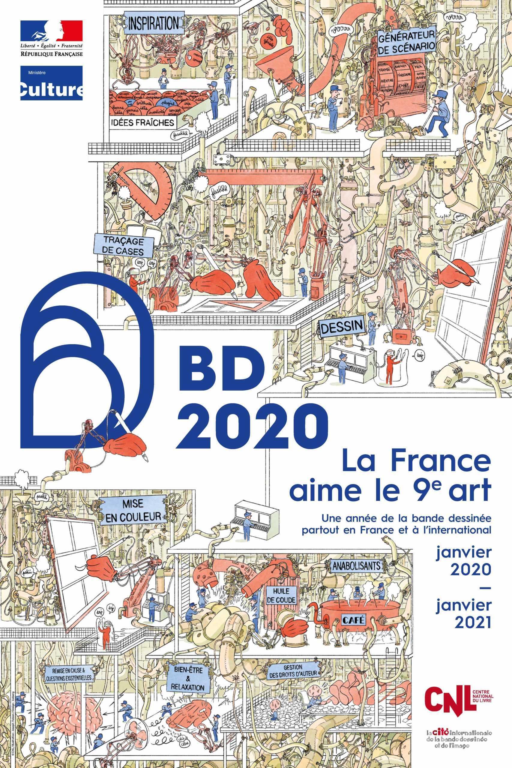 Année de la BD 2020, l'affiche et les parrains avec le festival de Sainte-Enimie retenu comme un des projets nationaux
