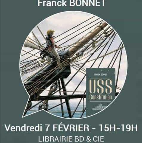 Franck Bonnet est en dédicace à la libraire Azimuts à Montpellier le 8 février 2020 avec USS Constitution