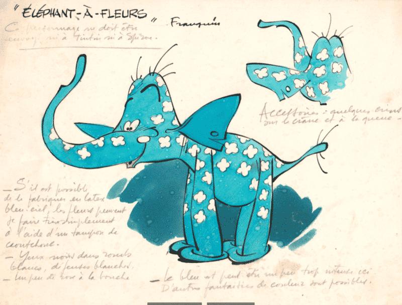 Éléphant à fleurs