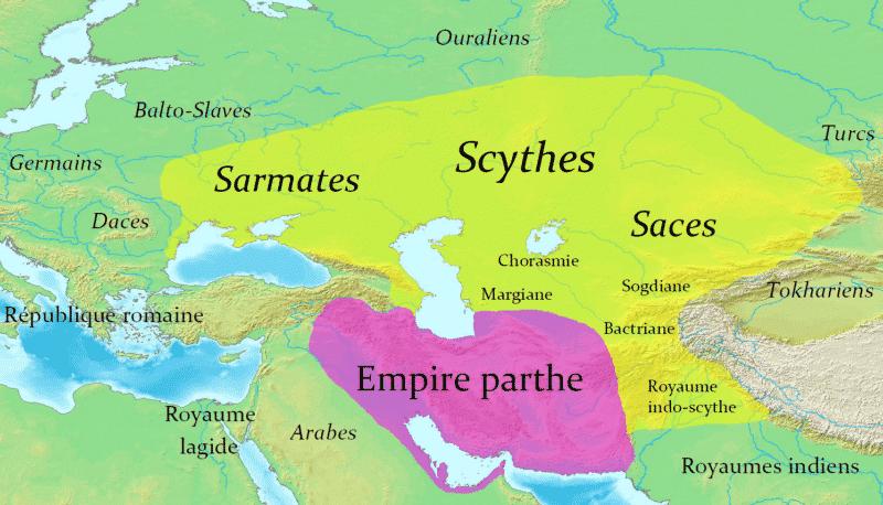 Scythes et leurs sous-groupes, et l'empire parthe