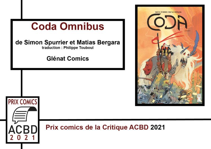 Prix Comics de la Critique ACBD 2021